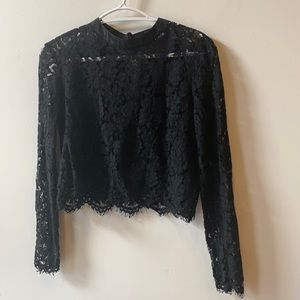 Long Sleeved Black Lace Top S